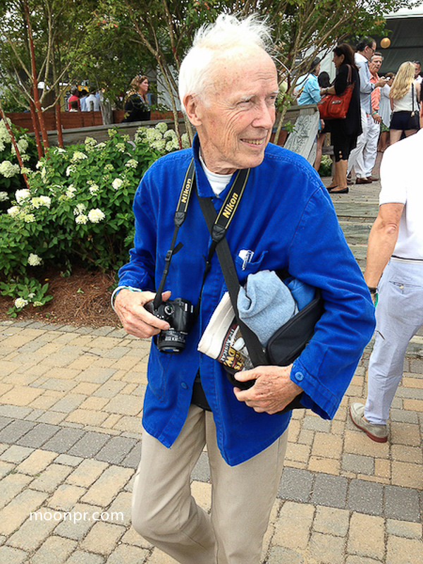 Bill Cunningham outside of the VIP tent at the Hampton Classic Horse Show in Bridgehampton NY.