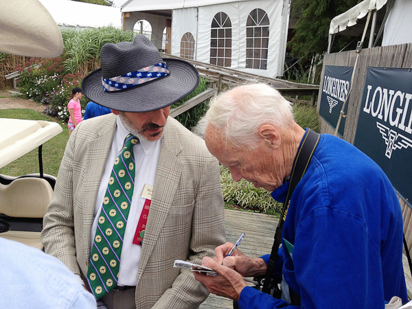Marty Bauman, Press Chief ~ Hampton Classic Horse Show. Bill Cunningham interviewing him for the New York Times.