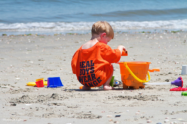 """Real Boys Wear Orange"" priceless tee for this little beach goer."
