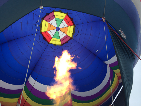 Looking inside a hot air balloon in Connecticut. Love those colors.