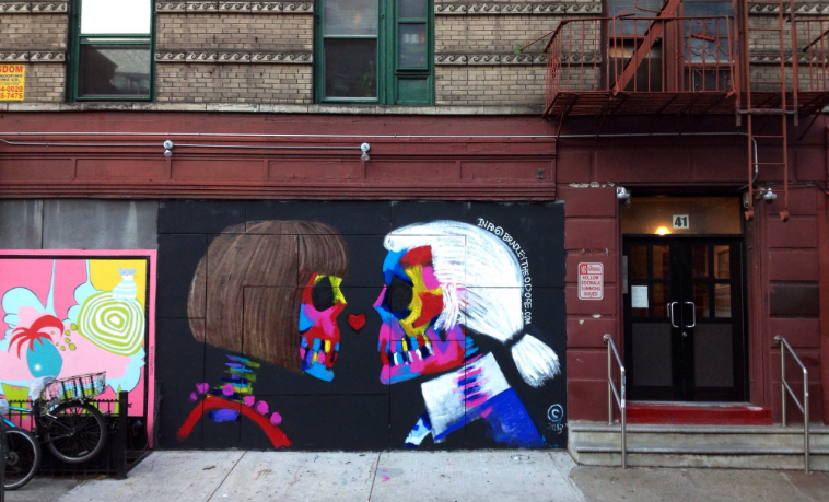 This Bradley Theodore mural sadly does not exist any longer. Instead, the mural below is in its place. {photo by nolitahearts.com}.