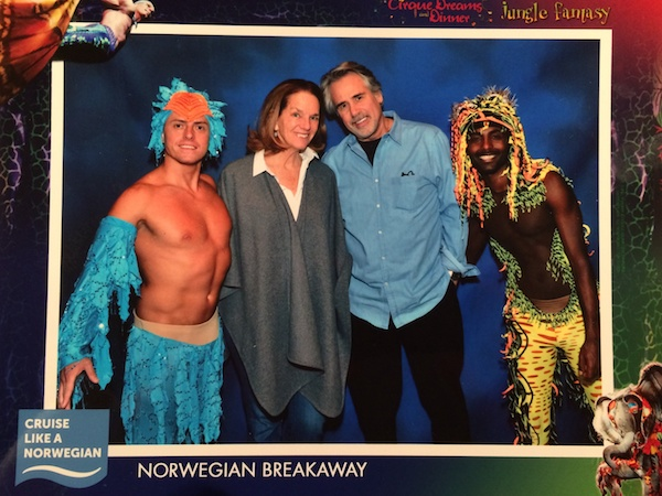A cruise of any length is not complete without a cheesy photograph like this. The Cirque performance was terrific!