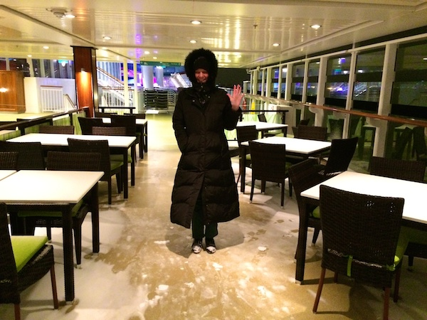 Snow on the top deck of the cruise ship.