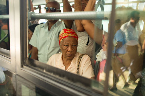 Woman on a bus Havana Cuba