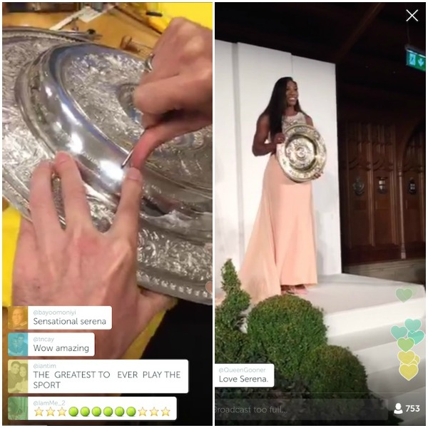 Wimbledon spectators were able to see behind-the-scenes streaming from the black tie dinner that follows the big day of tennis. Here you see the engraver putting in Serena's name, and the dinner honoring the winners. All LIVE. This is from Wimbeldon's own Periscope livestream.