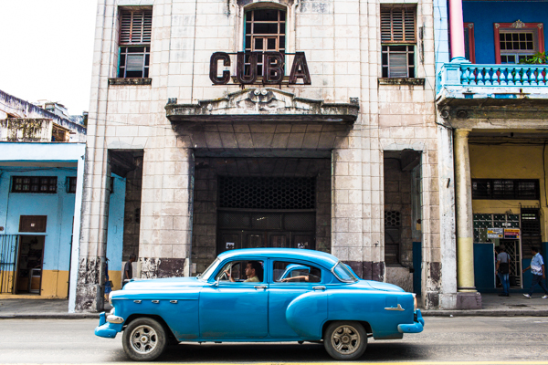 The Cuba building and the blue car in Havana ©nancy moon