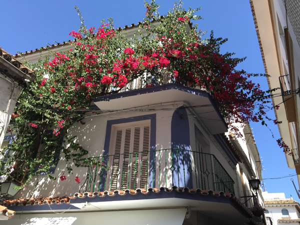A Spain balcony in blue and red by ©Nancy Moon