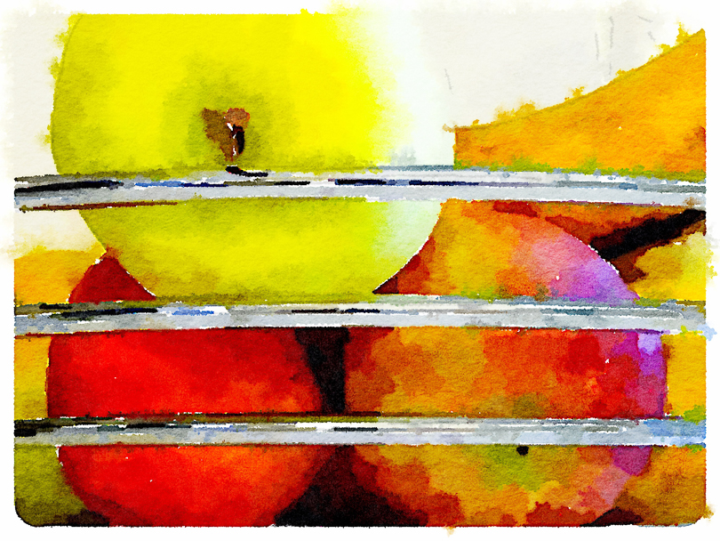 Apples, using Waterlogue, the photo app