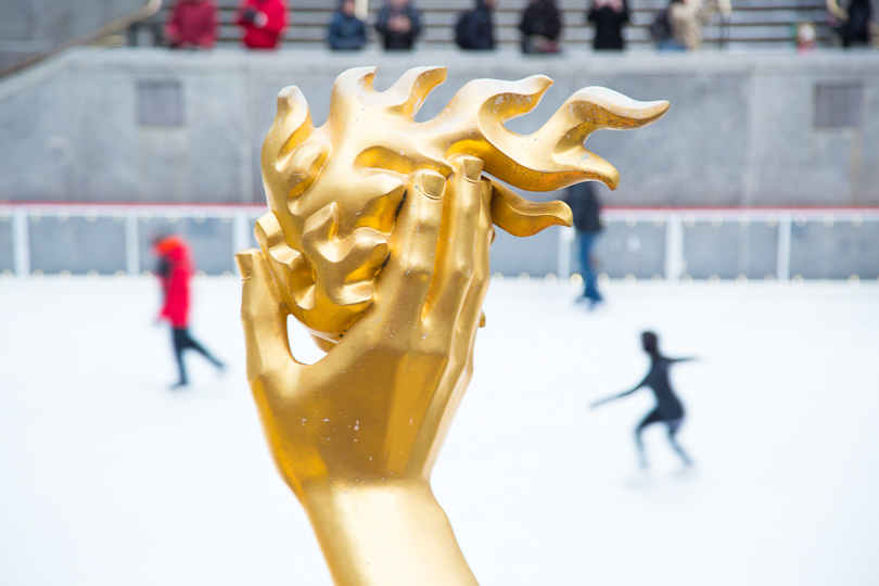 I crept up her. The hand of Prometheus at Rockefeller Center in NYC