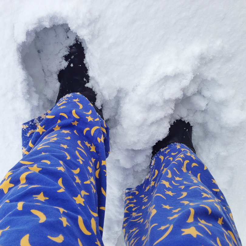 Moon blue pajamas in the snow