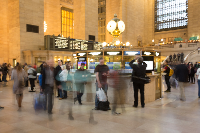 Grand Central Terminal, passengers dashing by