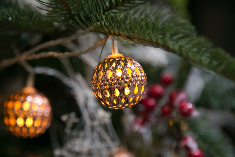 Holiday lit ball ornament @nancymoon