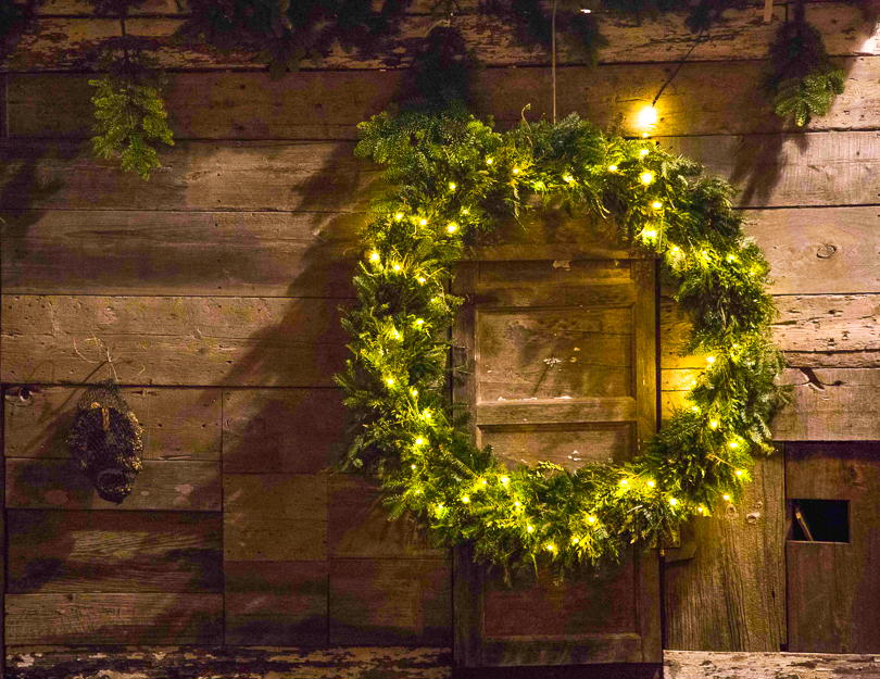 wreath on a wood house