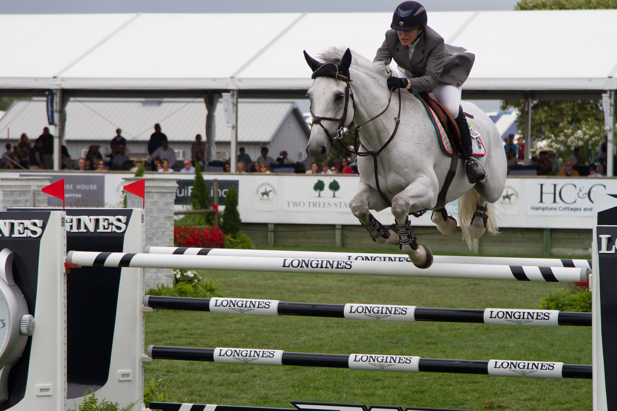 World-class jumpers at The Hampton Classic Horse Show.