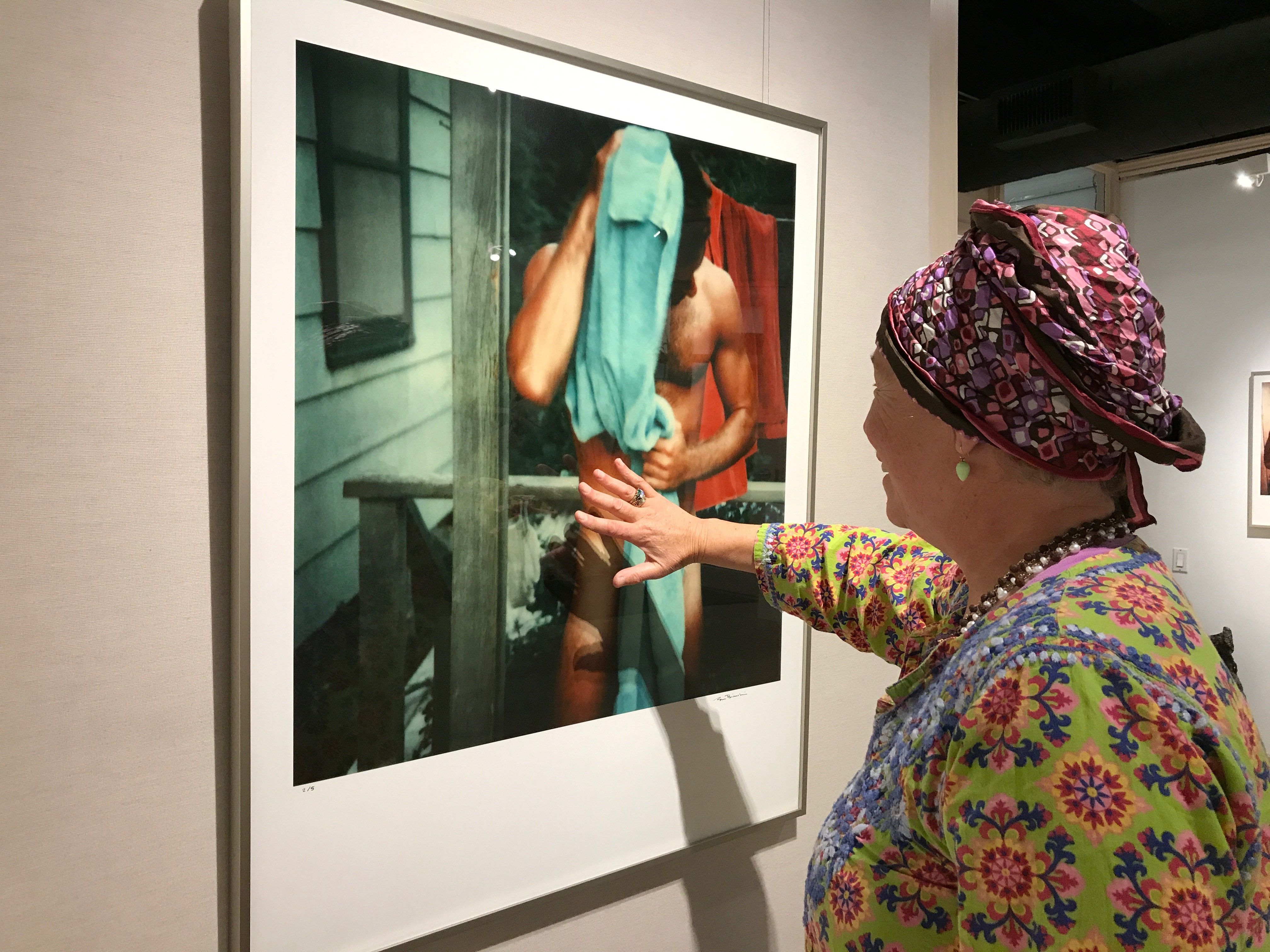 Penny Hornwood Covers Tom Bianchi Vintage Polaroid of Man In Towel With Her Hand